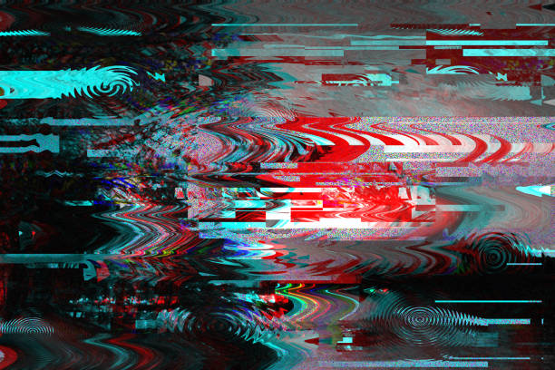 Glitch background. Computer screen error. Digital pixel noise abstract design. Photo glitch. Television signal fail. Data decay. Technical problem grunge wallpaper. Colorful noise wallpaper stock photo