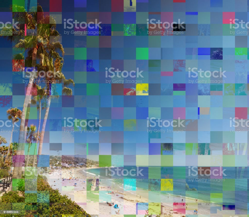 Glitch effect on a photo with palms and ocean stock photo