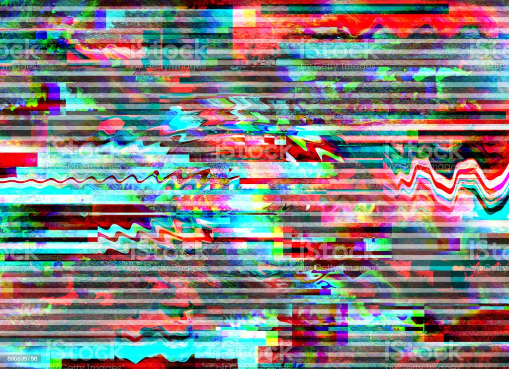 Glitch psychedelic background. Old TV screen error. Digital pixel noise abstract design. Photo glitch. Television signal fail. Technical problem grunge wallpaper. Colorful noise stock photo