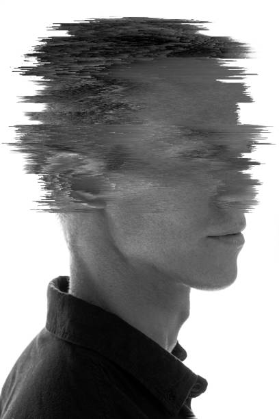 Glitched portrait of a man stock photo