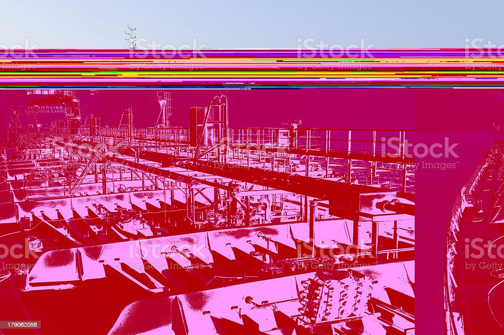 Glitches pink image of a crude oil carrier ship royalty-free stock photo