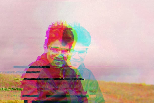 Glitchy portrait of teenager stock photo