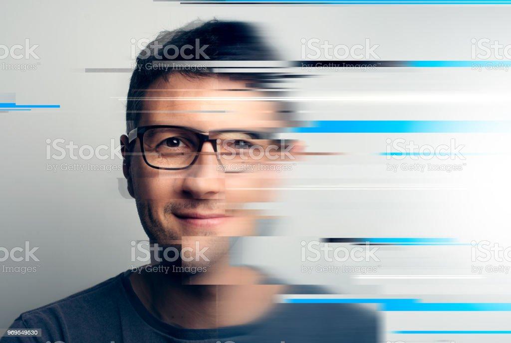 Glitchy portrait stock photo