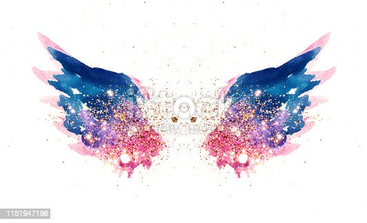 Glitter and glittering stars on abstract pink and blue watercolor wings in vintage nostalgic colors for your design
