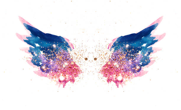 glitter and glittering stars on abstract pink and blue watercolor wings in vintage nostalgic colors. - ala di animale foto e immagini stock