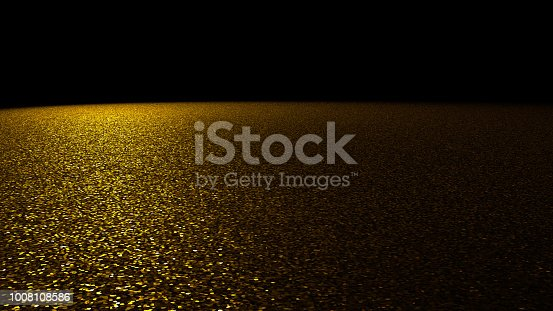 645448998 istock photo glitter background - sparkling golden glitter on a stage lit by a big bright spotlight from the left in front of a black background 1008108586