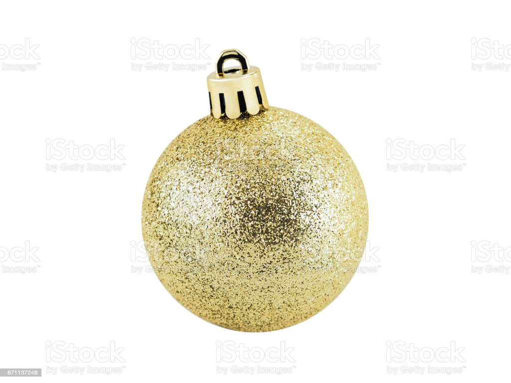 glitter gold christmas ball isolated on white background, for christmas festival decoration stock photo