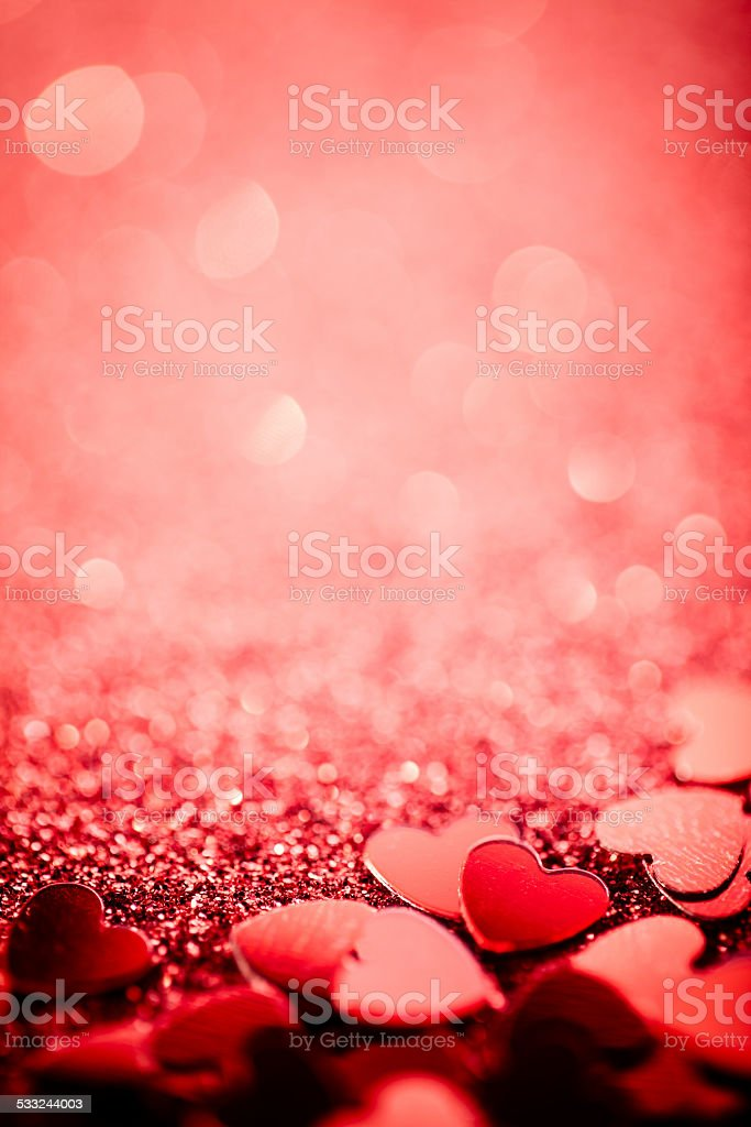 Glitter hearts - Defocused Bokeh Valentine's Day Love Background Card stock photo