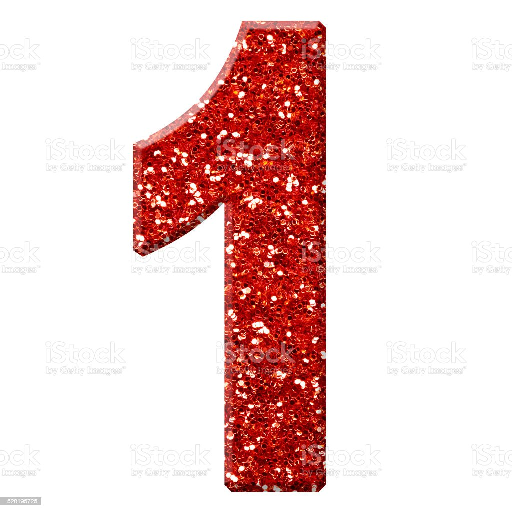 Glitter Number 1 Stock Photo - Download Image Now