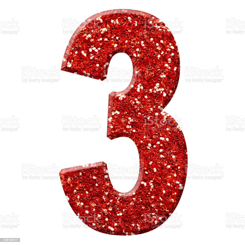 Glitter Number 3 Stock Photo - Download Image Now