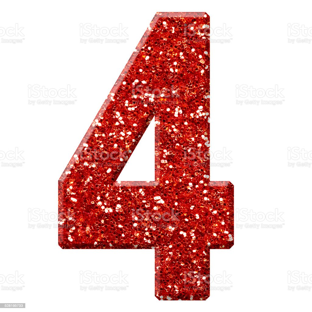 Glitter Number 4 Stock Photo - Download Image Now