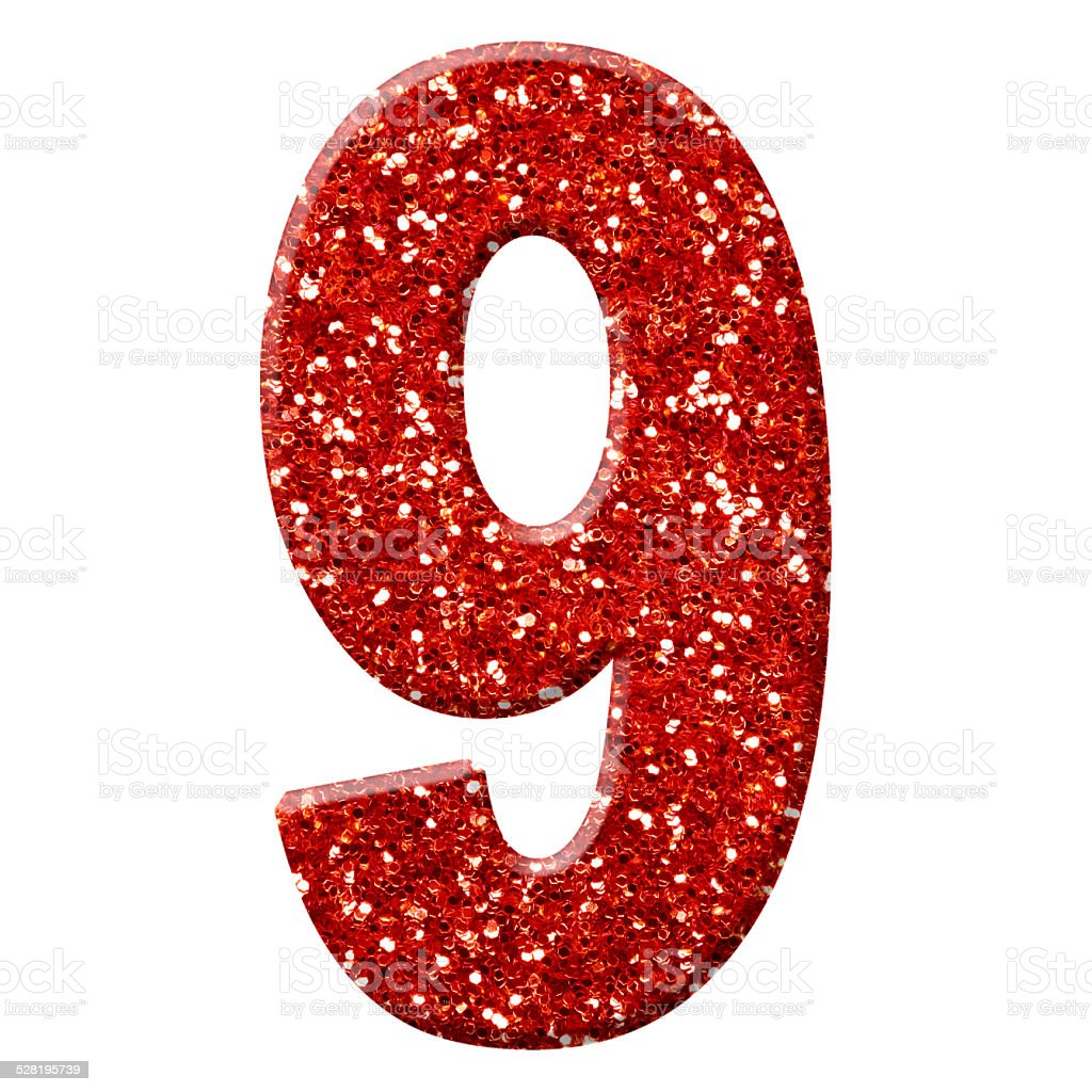 Glitter Number 9 Stock Photo - Download Image Now - iStock