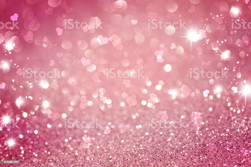 Glitter pink lights abstract background, silver and white, defocused stock photo