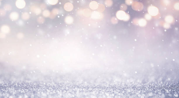 Glitter vintage lights abstract background new year holiday. Blue and gold, copy space. stock photo