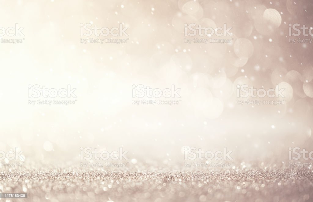 Glitter vintage lights abstract background new year holiday. Silver and white, copy space. - Royalty-free Abstrato Foto de stock