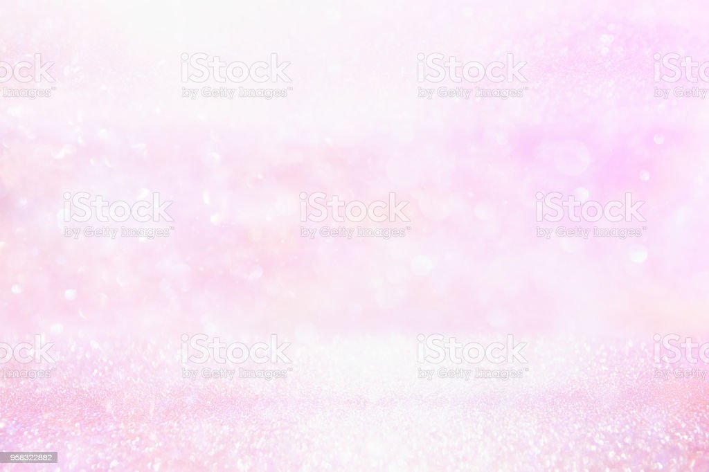 glitter vintage lights background pink and silver defocused stock