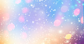 "Glittering gradient background  with hologram effect and magic lights. Holographic  abstract fantasy  backdrop  with fairy sparkles, gold stars and festive  blurs. ""n"