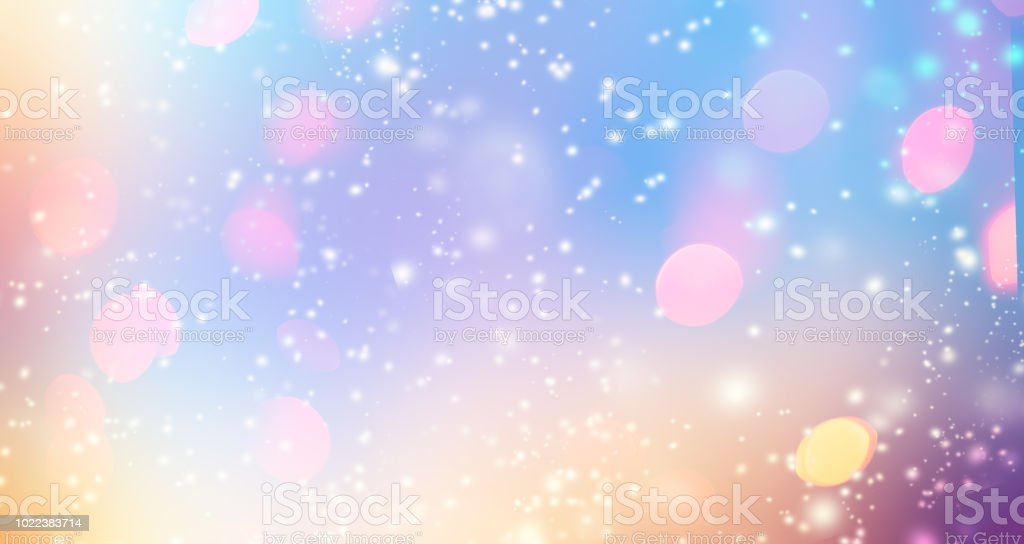 Glittering gradient background  with hologram effect and magic lights. Holographic  abstract fantasy  backdrop  with fairy sparkles, gold stars and festive  blurs. 'n stock photo
