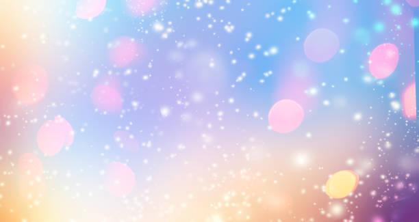 """きらびやかなグラデーションの背景ホログラム効果と魔法の光。ホログラフィック抽象的なファンタジー背景妖精の輝きと、ゴールドの星し、お祝いをぼかします。""""n - ホログラム ストックフォトと画像"""