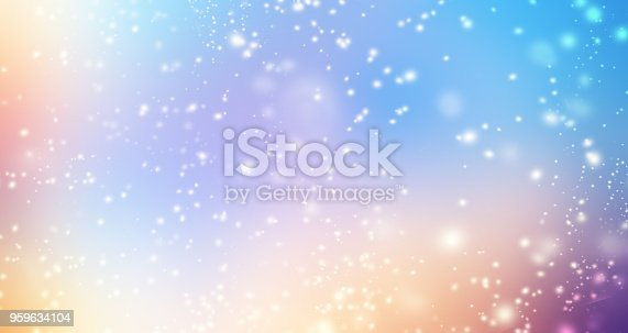 istock Glittering gradient background  with hologram effect and magic lights. Holographic  abstract fantasy  backdrop  with fairy sparkles, gold stars and festive  blurs.
