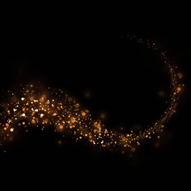 glittering stars dust trail and bokeh background.Magic abstract element for your product. stock photo