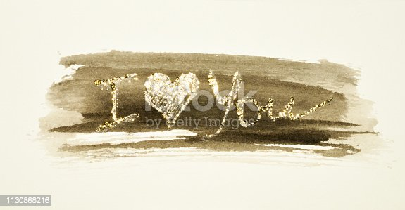 Glittering words - I Iove You - on black watercolor splash in nostalgic colors, made with golden glitter for your design