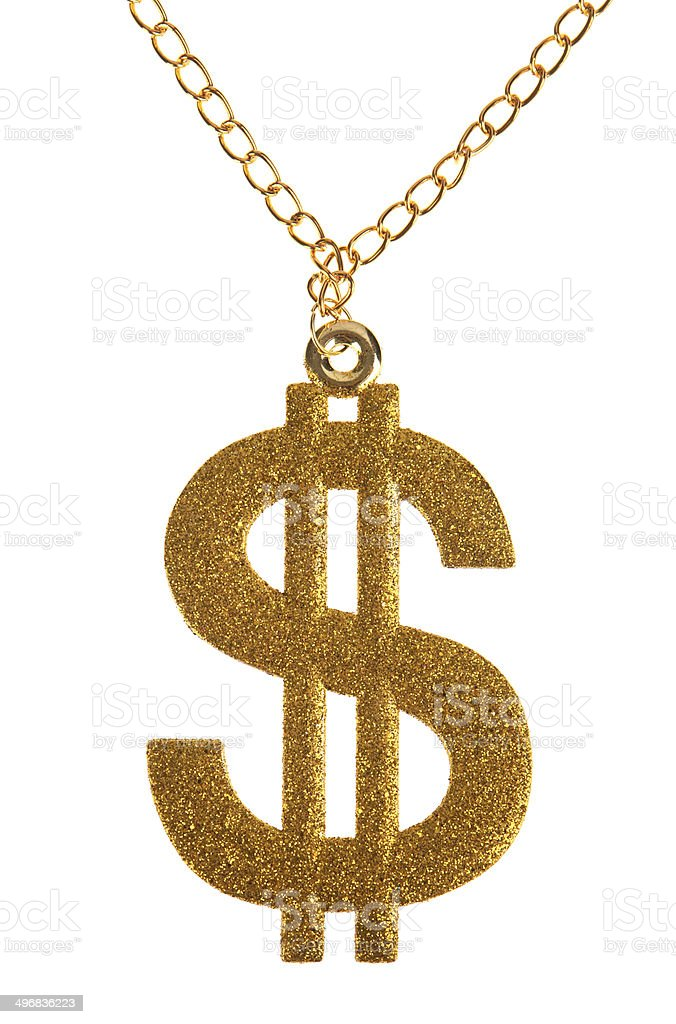 Glittery Dollar Sign on Chain stock photo