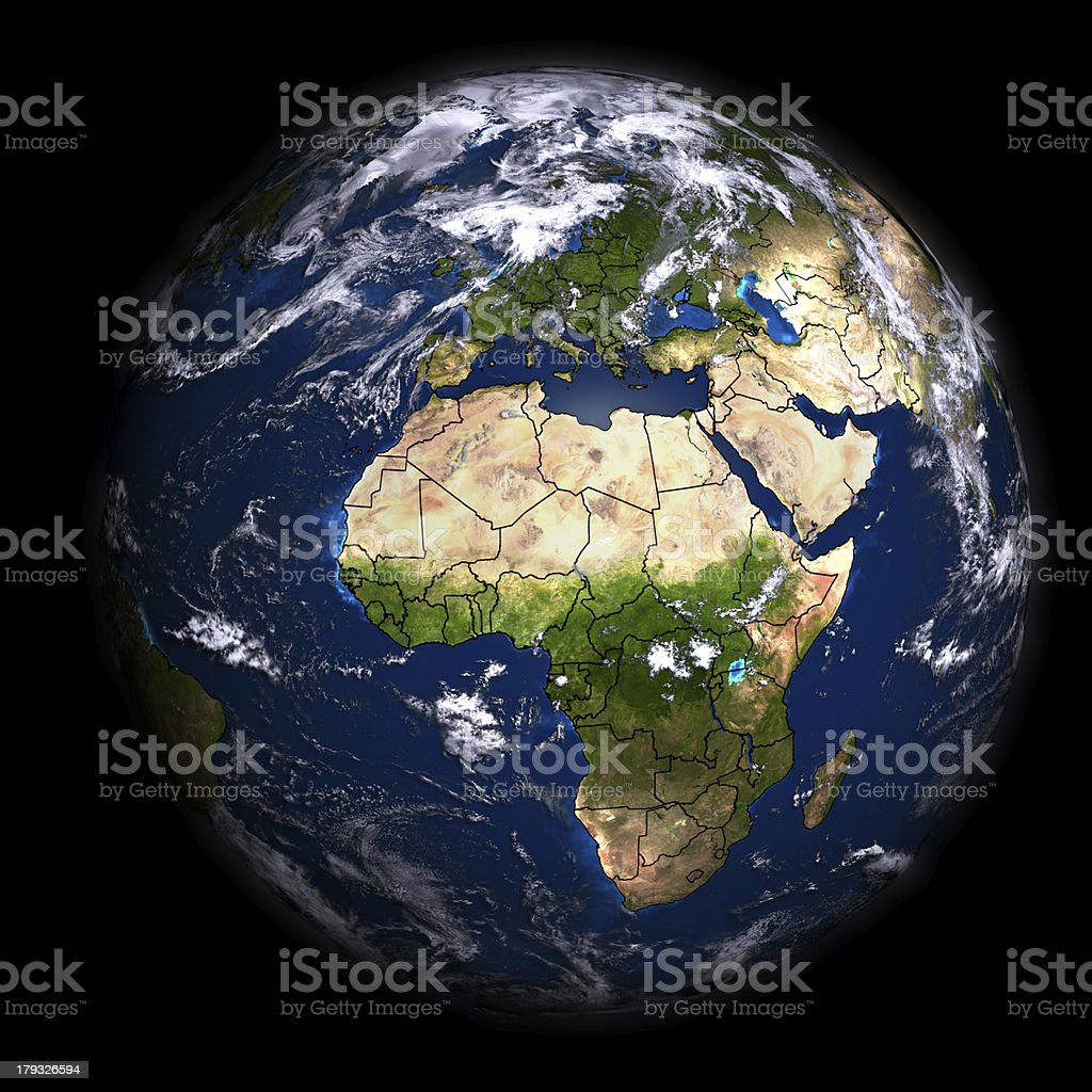 Global aerial view showing geographical boundaries royalty-free stock photo