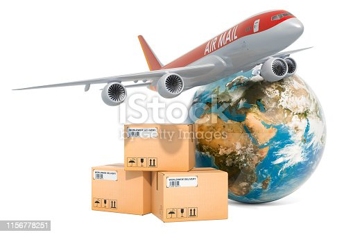 istock Global air freight delivery concept. Parcels with aeroplane and Earth Globe, 3D rendering 1156778251