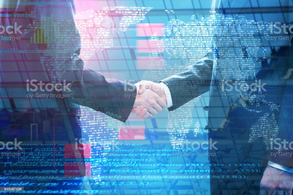 Global business and computing concept stock photo