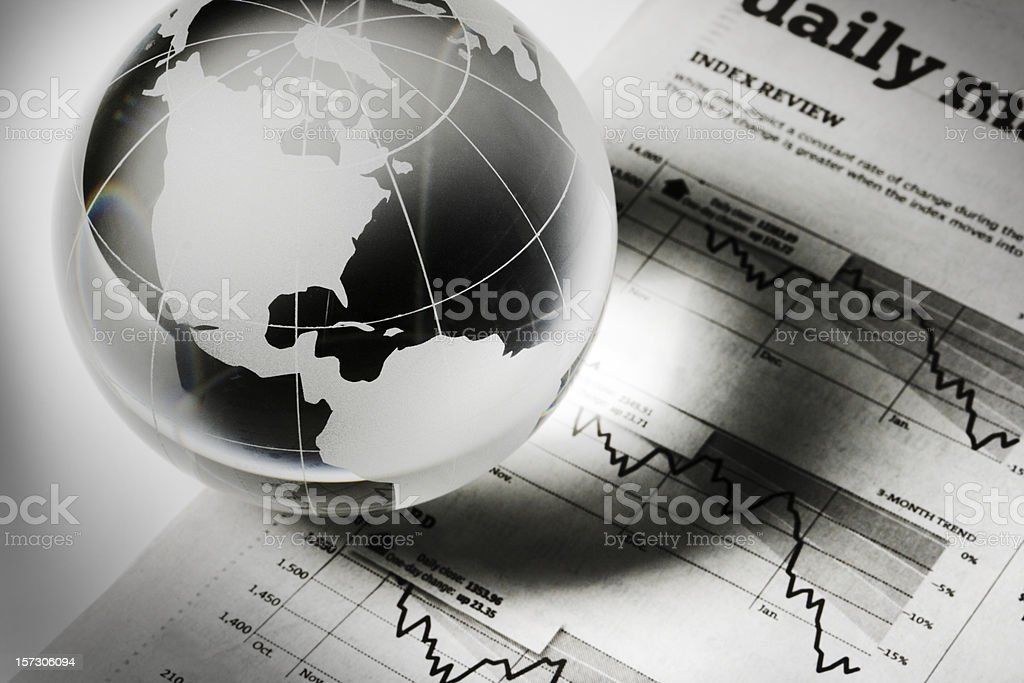 Global Business and Finance with Newspaper Investment Page Forecasting Recession stock photo