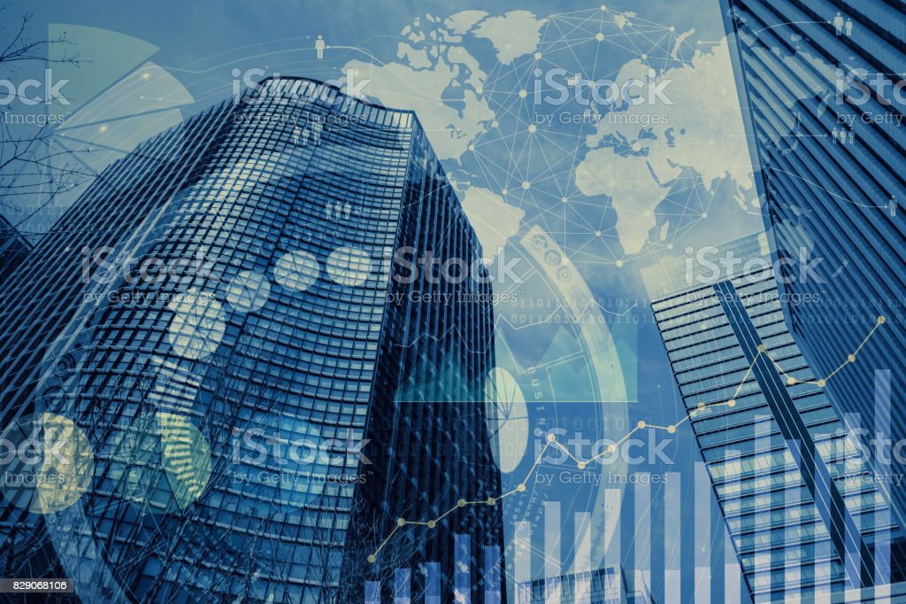 global business and information communication technology stock photo