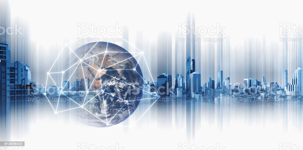 Global business and networking, Double exposure Globe with network connection lines and modern buildings, on white background. Element of this image are furnished by NASA stock photo