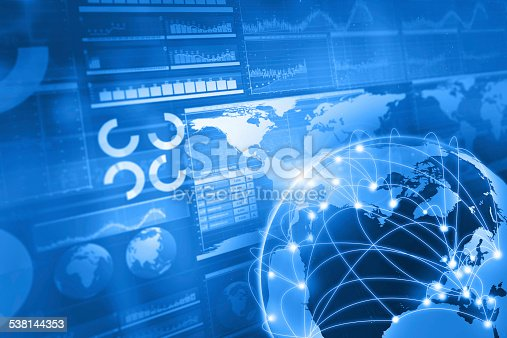 istock Global business and world connections blue background 538144353