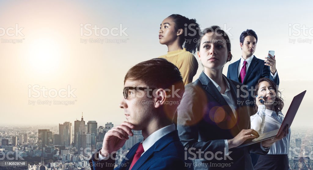 Global business concept. Group of various ethnic businessperson. Diversity. - Royalty-free Adult Stock Photo