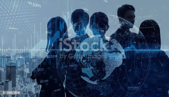 istock Global business concept. Multiple exposure of group of businessperson and modern cityscape. 913582656