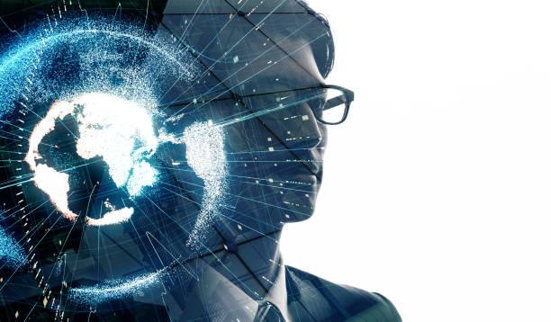 global bedrijfsconcept. - dubbelopname businessman stockfoto's en -beelden