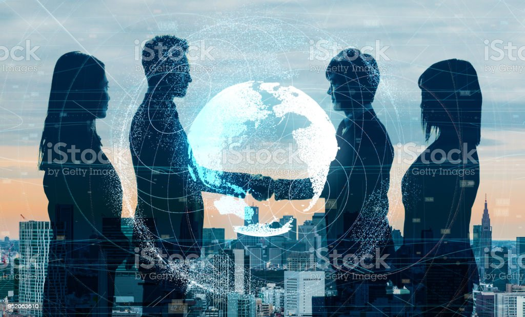 Global business concept. Shaking hands businessperson. stock photo