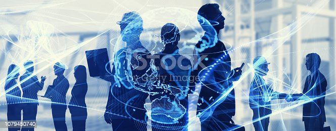 istock Global business concept. Silhouette of business people. 1079450740