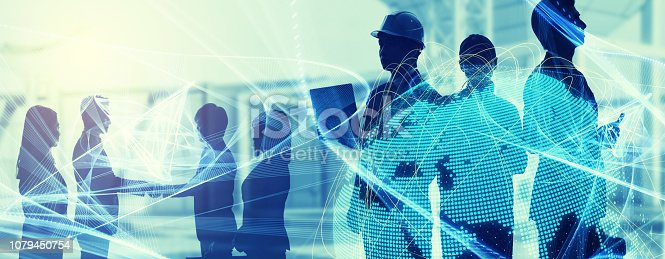 istock Global business concept. Silhouette of business people. 1079450754