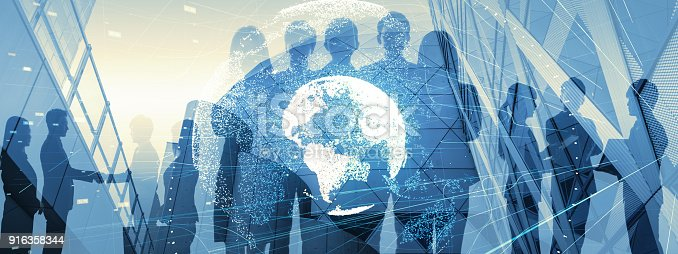 istock Global business concept. Silhouette of business people. 916358344