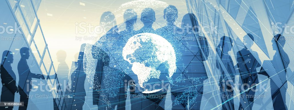 Global business concept. Silhouette of business people. - foto stock