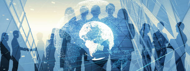 Global business concept. Silhouette of business people. stock photo