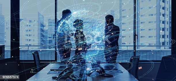 istock Global business concept. Silhouettes of business person and communication network. 926537574