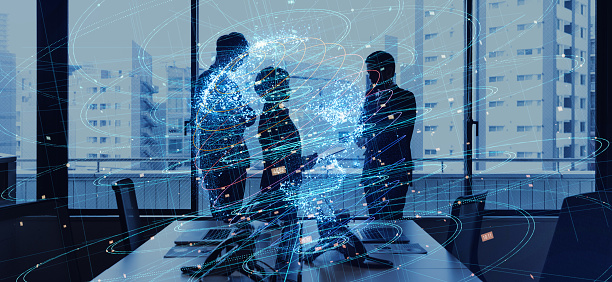 872670560 istock photo Global business concept. Silhouettes of business person and communication network. 926537574