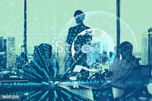 istock Global business concept. Silhouettes of business person and communication network. 933321032