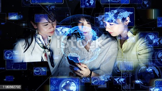 istock Global business concept. System engineering. Group of woman in office. 1180562702