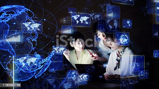 istock Global business concept. System engineering. Group of woman in office. 1180562739