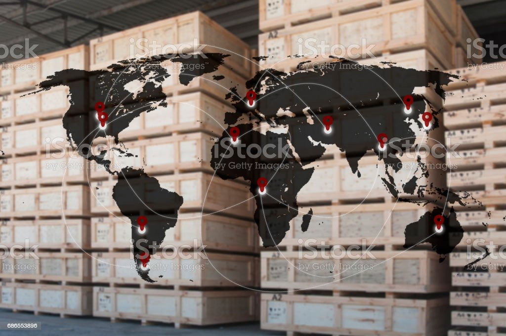 Global business connection technology interface connected internet to transportation, Business Logistics concept royalty free stockfoto