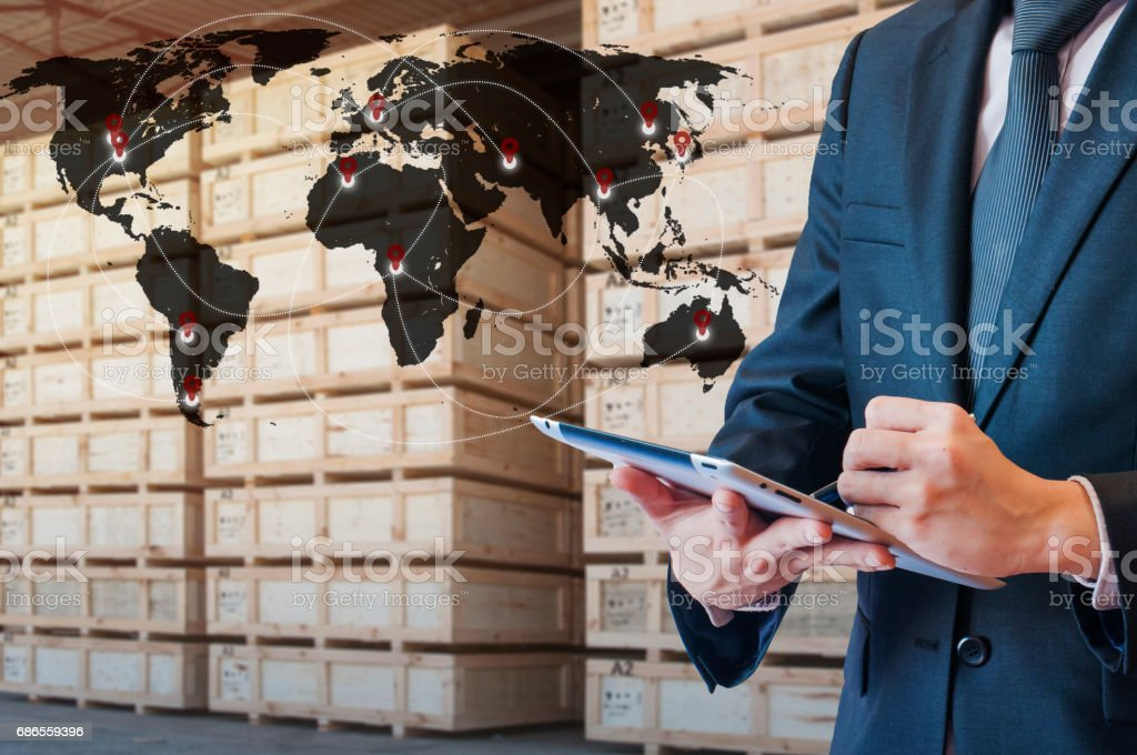 Global business connection technology interface connected internet to transportation, Business Logistics concept royalty-free stock photo
